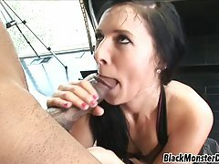 Petite brunette, Ashli Orion took a glass dildo out of her ass to have anal sex